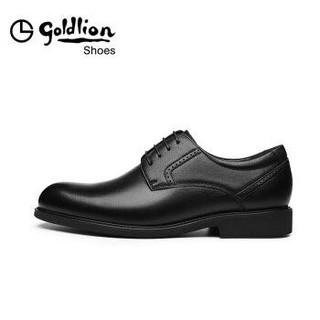 金利来(goldlion)男正装商务休闲皮鞋舒适轻质透气时尚580830571ADA-黑色-42码