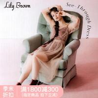 Lily Brown2018秋冬新品 时尚吊带薄纱两件套连衣裙LWCO184076