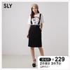 SLY 新品日系背带纽扣高腰修身半身裙短裙女 038AA431-0080 *3件 480.9元(合160.3元/件)