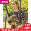 Lagogo2019春装年小碎花V领长袖高腰显瘦连衣裙女秋装宽松 185元