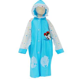 迪士尼 Disney 儿童雨衣带书包位加厚卡通男孩女孩充气帽檐雨披 XT1025 蓝色XL