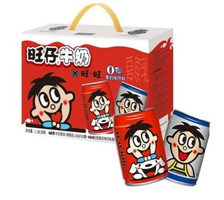旺旺 旺仔牛奶(6罐)+o泡果奶 儿童牛奶早餐奶(原味2罐)组合装 245ml*8 *6件