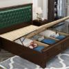 恒兴达 橡胶木实木床 美式实木床1.8米双人气压高箱床婚床1.5m单人床卧室家具(1.8*2米胡桃色+绿皮 单床) 1699元