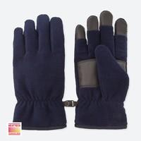 UNIQLO 优衣库 409345 男士HEATTECH内衬摇粒绒手套 (24cm、藏青色)
