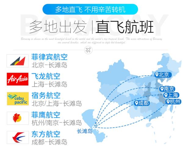 北京/上海/杭州/南京/成都-菲律宾长滩岛5-8天自由行(直飞往返+多酒店可选)