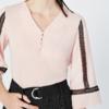 Lily 118269C8943 女装蕾丝镂空七分袖宽松V领雪纺衫