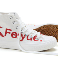 FEIYUE 飞跃 男女高帮帆布鞋情侣款logo小白鞋休闲板鞋 DF/1-2077