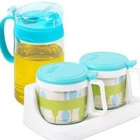 CHAHUA 茶花 玻璃调料盒 2只款 送450ml玻璃油壶+2个勺子