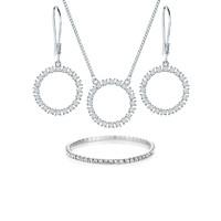 DIAMOND STYLE 水晶圆环吊坠项链 + 耳钉 + 手链 白色 *2件
