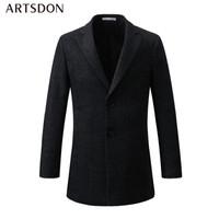 Artsdon/阿仕顿 大衣男 2018冬季新款羊毛中长款翻领商务绅士加厚休闲呢大衣外套A3800098 黑色 170/M *3件