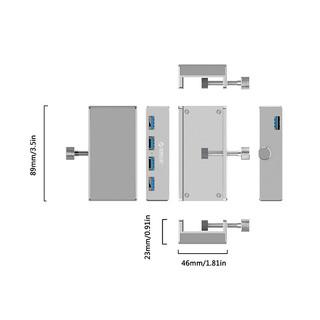 ORICO 奥睿科 背夹卡扣式usb3.04集线器