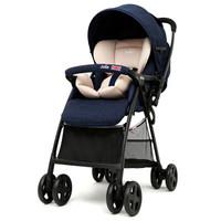 英国巧儿宜JOIE婴儿推车高景观可坐可躺轻便折叠可换向宝宝手推车芙洛特英伦系列英国蓝