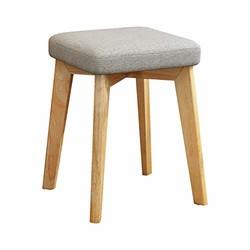 实木毛毡桌凳子椅子橡胶木棉麻高弹电脑椅子小方凳餐凳软面矮凳化妆凳布艺实木凳 (灰色)