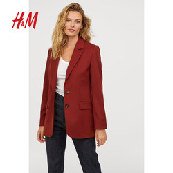 H&M HM0693913 女士翻领印花直筒外套