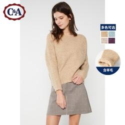 C&A CA200211449 女式圆领套头宽松慵懒风毛衣 冬新款长袖针织罩衫