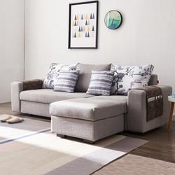 A家家具 沙发 现代简约客厅可拆洗贵妃位北欧 布艺沙发 三人位 脚踏 灰色 DB1528