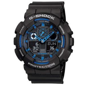 CASIO 卡西欧 G-SHOCK系列 GA-100-1A2 男士电子手表 51.2mm 黑盘 黑色树脂表带 圆形