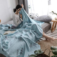 J.H.Longess 布之美 色织全棉双层棉纱空调毛巾盖被 150*200cm