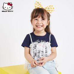 hellokitty童装女童拼接蕾丝短袖T恤1-3岁宝宝新款夏季半袖上衣