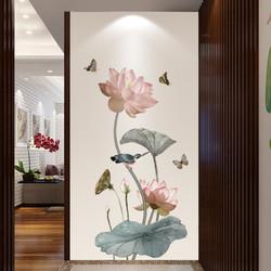 中国风荷花墙壁墙面装饰贴纸客厅卧室房间温馨背景墙贴画墙纸自粘