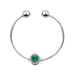PANDORA潘多拉 一颗闪耀开口手镯绿色成品手链LZPDL0047 绿色 17.5cm