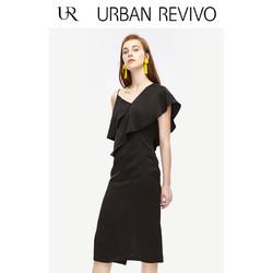 UR2018秋冬新品女装时尚吊带气质H型连衣裙WP42S7BN2000