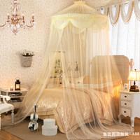 兰序圆形公主式蚊帐 黄色宫廷吊顶 1.2-2.2米床通用款