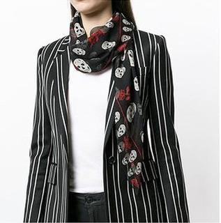 ALEXANDER MCQUEEN 亚历山大·麦昆 女士骷髅玫瑰印花围巾