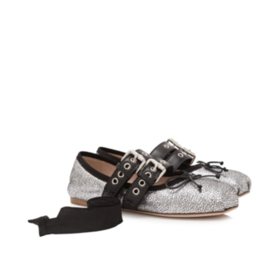 MIU MIU 缪缪 Ballerina 女士真皮芭蕾舞鞋平底鞋