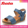 Bata/拔佳 专柜同款简约休闲坡跟胎牛皮革女凉鞋AES03BL8 蓝色 39 308元
