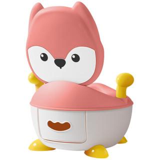 世纪宝贝(babyhood)儿童坐便器 婴儿便盆尿盆小马桶男女宝宝通用 小狐狸抽屉便糟 藕粉色 BH-113C