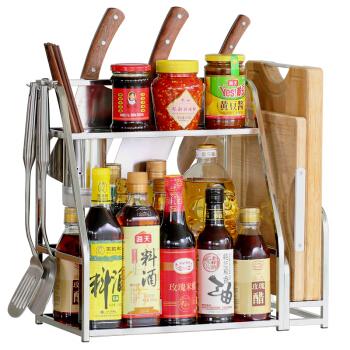 炊大皇 厨房置物架 不锈钢双层收纳架调料瓶架砧板架筷子筒刀架 带挂钩