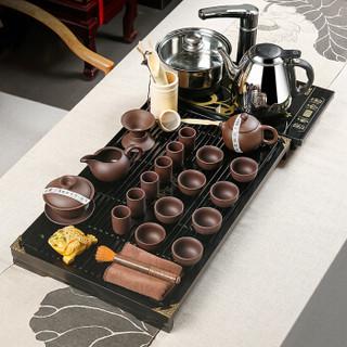 金镶玉 功夫茶具套装 柯木实木茶盘茶具茶壶茶杯泡茶炉整套 幽雅紫砂