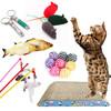 迪普尔 宠物猫玩具小老鼠玩具幼猫成猫互动逗猫棒猫抓板薄荷激光逗猫棒剑麻球鱼绳 猫咪玩具套装6件套