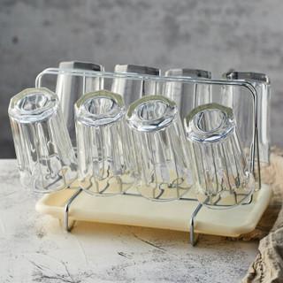 青苹果单层玻璃水杯茶杯套装家用9件套杯子*8+杯架托盘*1 EY2303/L9