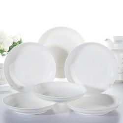 洁雅杰陶瓷餐具 家用盘子陶瓷汤盘(8英寸)白瓷饭盘陶瓷餐具套装 6只装