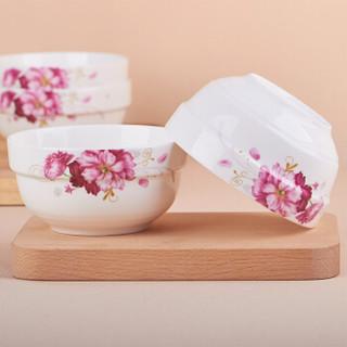 万毅米饭碗 陶瓷碗套装(4.5英寸)中式餐具护边碗(10只装)
