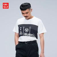 UNIQLO 优衣库 男 (UT)  印花T恤 ( SAKAGURA、 418131 、白色)