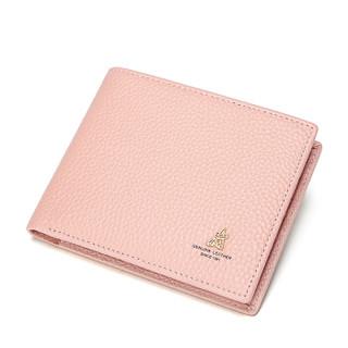 Mexican 稻草人 女士韩版简约2折钱包手拿包荔枝纹  MQJ30772L-03 粉红