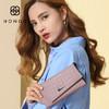 HONGU 红谷 女士三折多卡位钱包手拿包鳄鱼纹包 H10495208 粉紫