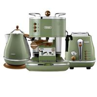 德龙(Delonghi)半自动咖啡机 电水壶 多士炉 复古三件套 橄榄绿