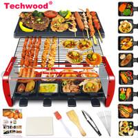 Techwood 电烧烤炉 不粘电烤盘无烟电烤炉家用烤串机铁板烤肉锅 天狐 GR-108(大号-豪华款)
