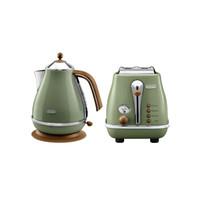 德龙(Delonghi)电水壶&多士炉 复古早餐系列 两件套 橄榄绿