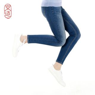 J.ZAO 女士修身牛仔裤 牛仔裤女 2019春装 中蓝色 25(155/64A)
