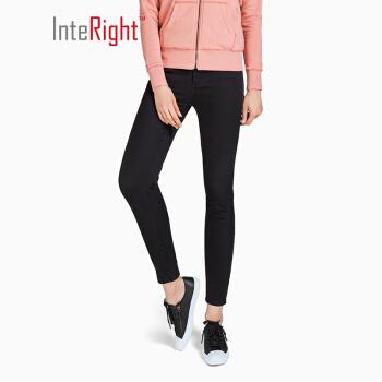 InteRight 女士修身弹力小脚牛仔裤 (29码、黑色)