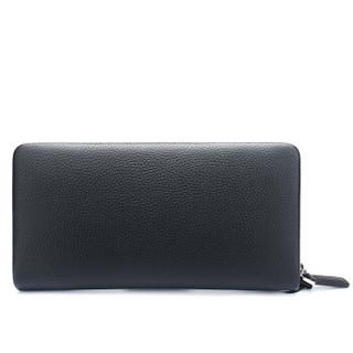 稻草人(MEXICAN)手包商务男士钱包质感头层牛皮手拿包男款大容量手抓包单拉手拿包MXC40608M-01黑色