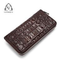 哥特(Gothique) 鳄鱼皮钱包手包男士鳄鱼钱包商务手拿包GT6046棕色标准版