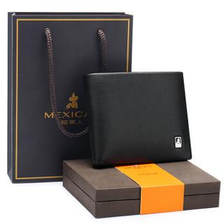 Mexican 稻草人 mexican)钱包男士时尚商务男头层牛皮横款短款钱夹送礼盒礼品MLH010-01