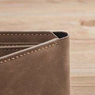 马莎兰缇(MashaLanti) 男士钱包时尚潮流短款皮钱夹多卡位超薄多功能卡包男  D058咖色