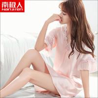 南极人(Nanjiren)睡裙 女仿丝公主甜美短袖睡衣女士韩版薄款家居服性感睡衣N676X20042-8 香槟色L *4件